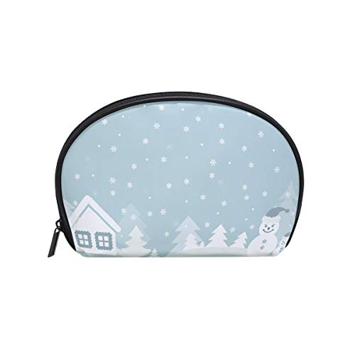 - Senya Travel Cosmetic Bag Small Makeup Portable Carry Case Pouch Girls Women Personalized Organizer Tote Bag For Jewelry Toiletries Cartoon Greeting Card Snowman House Christmas Tree
