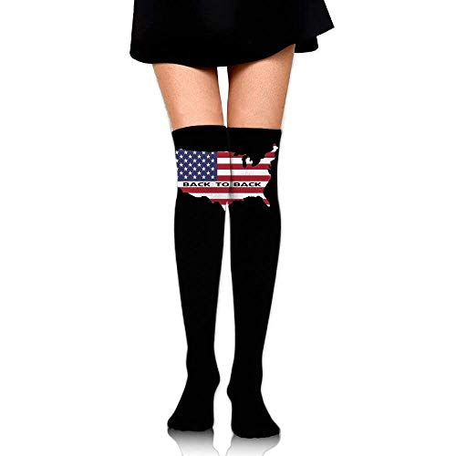 (Women's Knee High Compression Thigh High Socks Back to Back World War Champs USA for Working Sport Long Stockings)