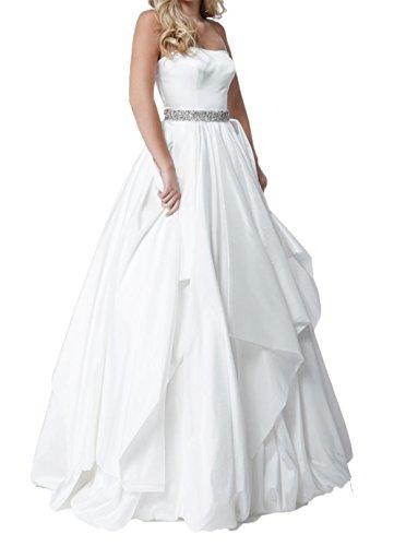 Abendkleider Weiß Promkleider A Prinzess La Ballkleider Braut Linie Festlichkleider Partykleider Langes Rock Weiss mia Traegerlos 6xZgpXw