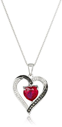 Sterling Silver Created Ruby Heart with Black and White Diamond Pendant Necklace, 18