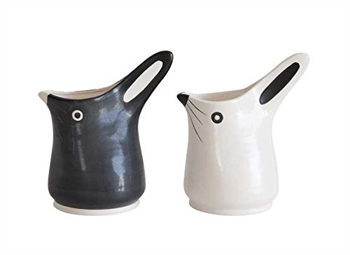 - Black & White Stoneware Bunny Pitchers - Set of 2