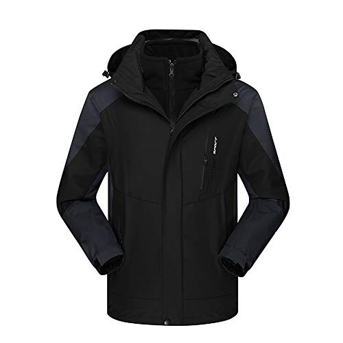 DaySeventh Men's Winter Outdoor Outfit Two Piece Three in One Waterproof Breathable Coat ()