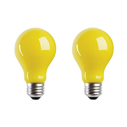 (A19 Incandescent Yellow Bug Light Bulb, 60W, E26 Medium Base, 130V, CSA Certified, (2 Pack))
