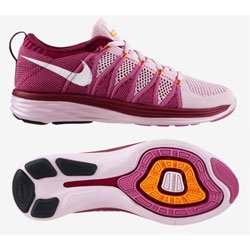 NIKE Womens Flyknit Lunar2 Running Shoes - Size: 7, Pink/white [Apparel]