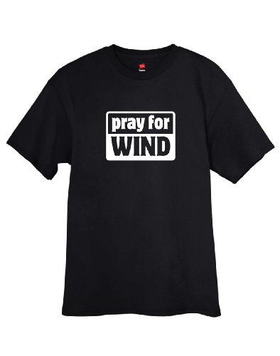 (ShirtLoco Men's Pray For Wind T-Shirt, Black Extra Large)