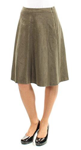 Tahari $79 Womens New 1335 Green Faux Suede Knee Length A-Line Skirt 2 B+B