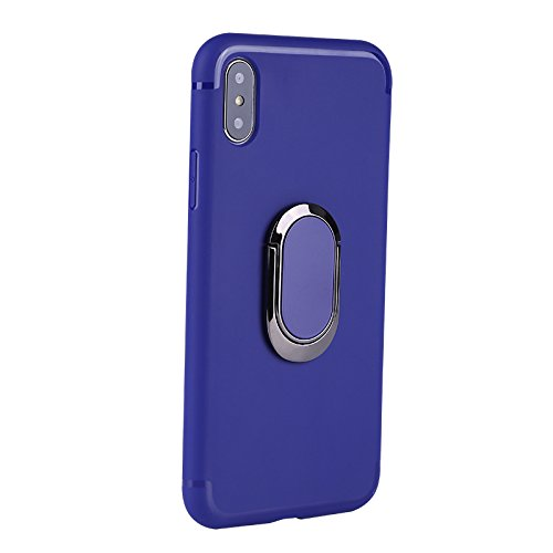 iPhone X Case with 360 Rotating Ring Grip Holder Kickstand Function Magnetic Base, Ultra Slim Thin Hard Scrub Cover with Shockproof Protective for Soft TPU iPhone X(Blue)