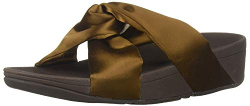 Bronze Satin Footwear - FitFlop Women's Piper Satin Slide Sandal, Bronze, 5 M US