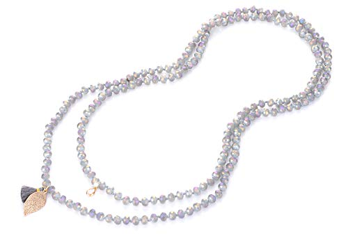 (NOVAS Long Bead Necklace for Women in 60 Inches Knotted Strand w/Premium Glass Beads(Translucent Grey AB Finish))