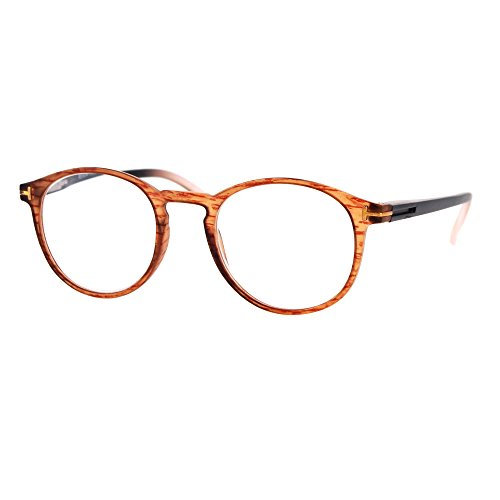 Retro Round Keyhole Thin Horn Rim Plastic Reading Glasses Brown - Rim Glasses Horn Reading