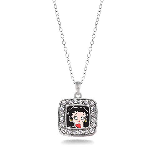 Inspired Silver - Betty Boop Charm Necklace for Women - Silver Square Charm 18 Inch Necklace with Cubic Zirconia Jewelry (Pendant Boop Betty)