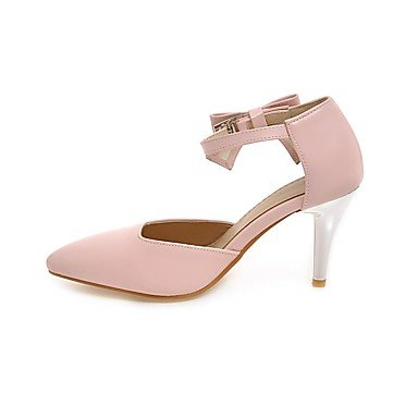 pwne La Mujer Tacones Zapatos Club Polipiel Primavera Otoño Casual Bowknot Stiletto Talón Almond Rubor Rosa Negro Blanco 3A-3 3/4 Pulg. US7.5 / EU38 / UK5.5 / CN38