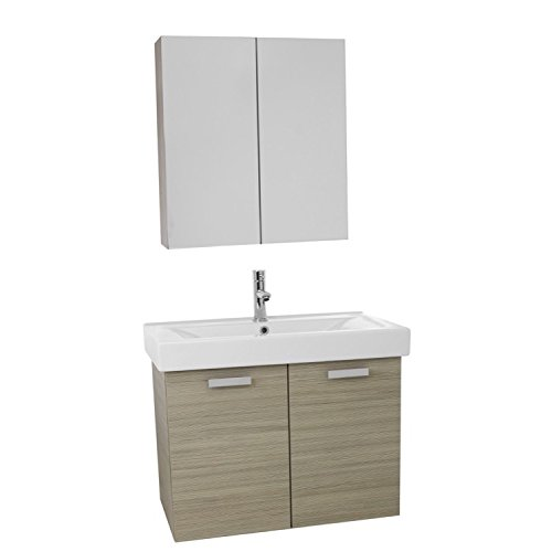 "ACF ACF C918 Cubical Wall Mount Bathroom Vanity with Fitted Ceramic Sink and Medicine Cabinet Included, 32"", Larch Canapa 80%OFF"