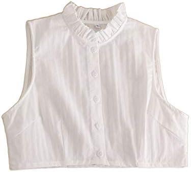 xian Mujer Algodón Lino Volantes Falso Cuello alto de encaje Rayas Media camisa desmontable: Amazon.es: Ropa y accesorios