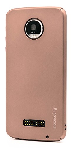 essory [Operative] Ultra-Thin Full-Body Lightweight Impact Slim Hard-Back Protective Premium Drop-Proof Plain Shell Cover Rose Gold For Moto Z Play (Hardback Case)