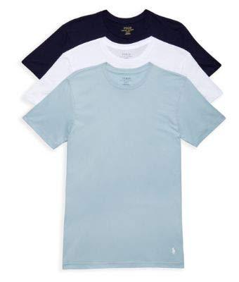 Polo Ralph Lauren Classic Fit Cotton T-Shirt 3-Pack, XL, Navy/Blue/White