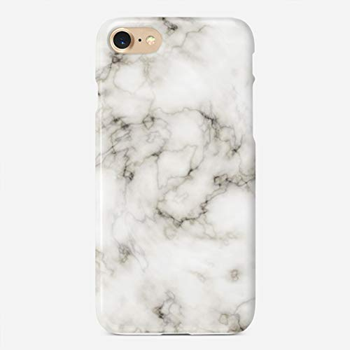 GUOOPE Compatible iPhone 7 Case/iPhone 8 Case White Marble Unique Pattern Design Slim Fit Shell Hard Plastic Full Protective Anti-Scratch Resistant Cover ()