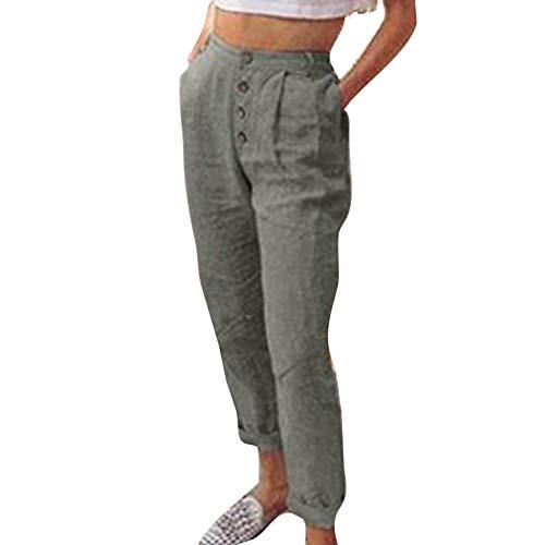 Casual lgant Crayon Longs 1 Pantalon Moyenne Mode La Taille S Taille Gris XL Boutons Pantalons de Femme Unie Bureau Couleur Leggings Pantalon OL Plus avec SWAFRa