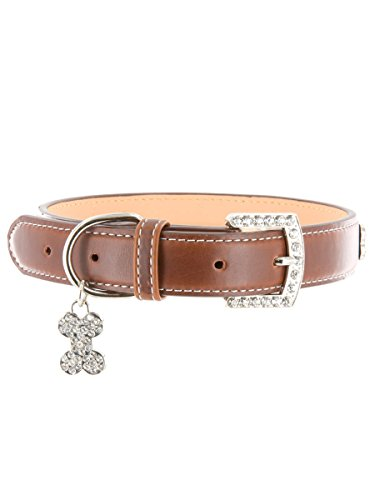 "Kakadu Pet 5th Avenue Rhinestone Dog Collar, Leather Collar, Small, 1/2"" x 13 1/2"", Brown"