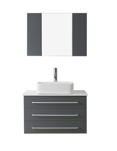 Virtu Usa Um 3057 S Gr Modern 32 Inch Single Sink Bathroom Vanity Set With Polished Chrome Faucet  Grey