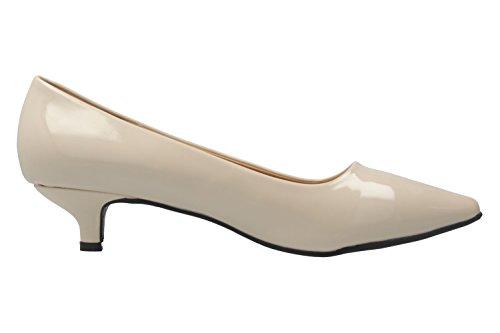 ANDRES MACHADO - Damen Pumps - Lack Beige Schuhe in Übergrößen