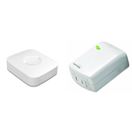 Samsung SmartThings Hub and Leviton Plug-In Dimming Lamp Module Bundle, Works with Amazon Alexa