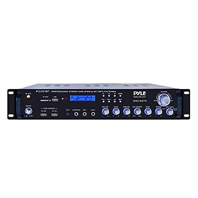 4 Channel Bluetooth Power Amplifier - 3000 Watt Audio Rack Mount Home Speaker Sound Stereo Receiver FM Radio, USB, Headphone, RCA, Dual Microphone w/ Echo, LED, Wireless Streaming - Pyle P3001BT