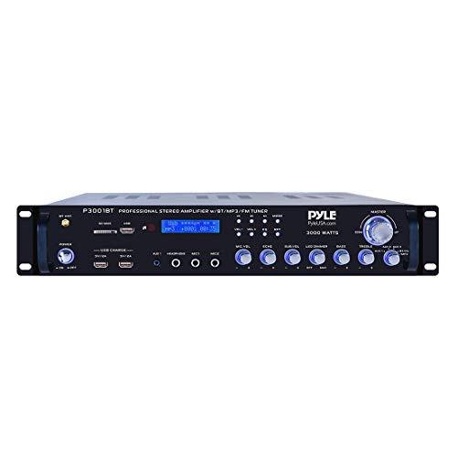 4 Channel Bluetooth Power Amplifier - 3000 Watt Audio Rack Mount Home Speaker Sound Stereo Receiver  FM Radio, USB, Headphone, RCA, Dual Microphone w/ Echo, LED, Wireless Streaming - ()