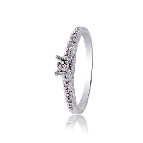 0.12 Carat Natural Diamond 14K White Gold Engagement Ring for Women Size 6.5 - 0.12 Ct Natural