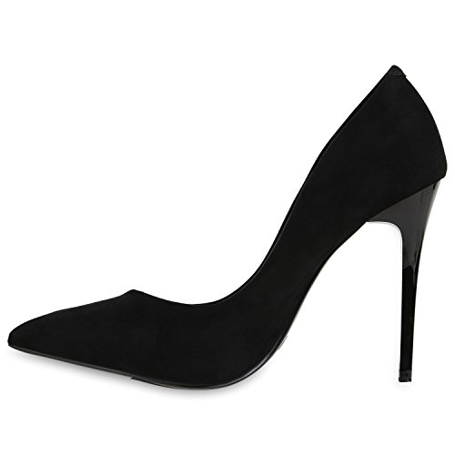 Stiefelparadies Spitze Damen Pumps Stiletto High Heels Lack Leder-Optik Schuhe Elegante Absatzschuhe Party Abendschuhe Abiball Flandell Schwarz Schwarz