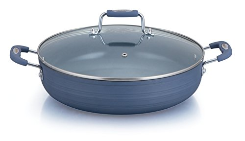 "Danico QDN012 12"" Ceramic Fry Pan With 2 Side Handles & Glass Lid, Matt Blue"