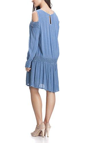 Laura Moretti - Vestido con bordados, detalles calados y aberturas en los hombros Azul