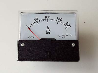 FidgetKute DH-670 DC 200A Rectangle Analog AMP Current Panel Meter Gauge + Shunt