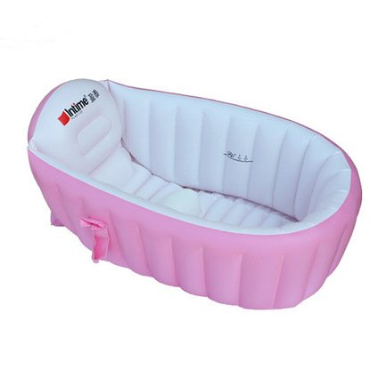 non slip baby infant inflatable bathing tub bath bathtub pink travel pump ebay. Black Bedroom Furniture Sets. Home Design Ideas