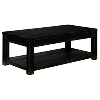 Ashley Furniture Signature Design   Gavelston Black Coffee Table   Cocktail  Height   Rectangular   Weatherworn