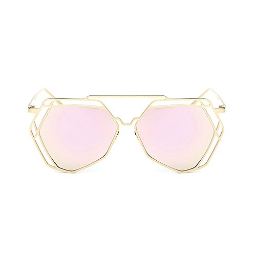 BVAGSS Fashion Mirrored Sunglasses Metal Frame Flat Women's sunglasses WS007 (Gold Frame, Pink Lens)