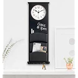 Mainstays Multi-use Wall Clock with Chalkboard, 3 Mail Slots and Hooks