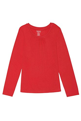French Toast Little Girls' Long Sleeve Crew Neck Shirt, Red, 6