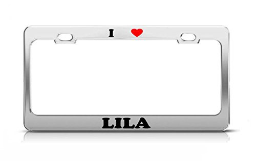 I HEART LILA Boy Girl Name Love Metal Auto License Plate Frame Tag ()