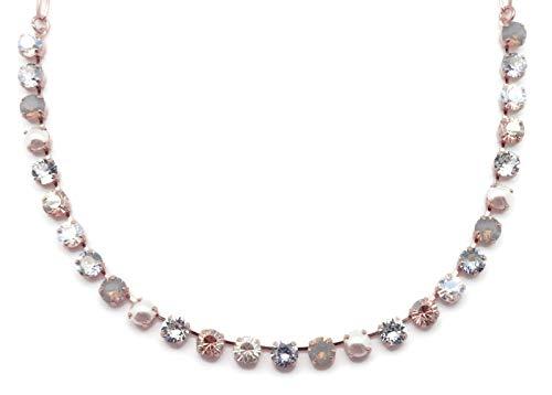 Mariana Seashell Swarovski Crystal Rose Goldtone Necklace Light Grey Opalescent Clear Silk Mix Bette ()