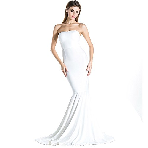 - Women's Sleeveless Bra Mermaid Party Dress Medium White