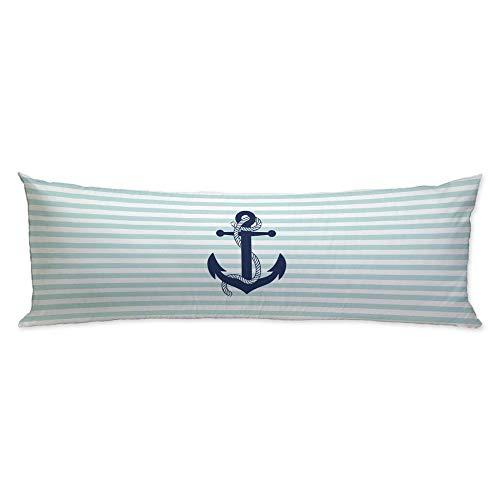 GUGLILI Navy Blue Anchor Body Pillow Case Cover Decorative Nautical Aqua White Stripe Machine Washable Zipper Both Sides Print Pillowcase 20X50 Inch ()