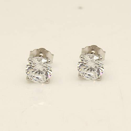 14k White Gold Over VVS1 Diamond-1.00 tcw Solitaire Stud Earrings For Women