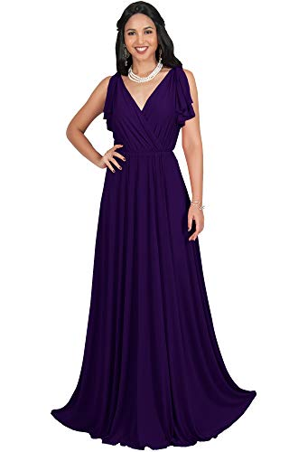 KOH KOH Womens Long V-Neck Sleeveless Flowy Prom Evening Wedding Party Guest Bridesmaid Bridal Formal Cocktail Summer Floor-Length Gown Gowns Maxi Dress Dresses, Purple L 12-14