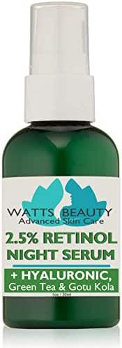 Watts Beauty 2.5% Retinol Serum Enhanced with 50% Hyaluronic Acid - Anti Aging Retinol for Fine Lines, Wrinkles, Blemishes, Large Pores & More - No Parabens, No Animal Testing or Ingredients (1oz)