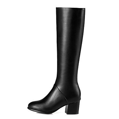 Fall Gll Heel Boots Boots 1in Black Fashion Dress 3 4in Leatherette Chunky 1 Beige Zipper Winter Casual Women's amp;xuezi beige xFrqRXF