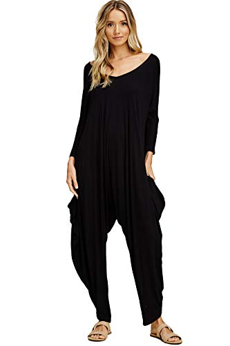 Annabelle Women's Long Sleeve Comfy Harem Jumpsuit Romper with Pockets Black Small J8002