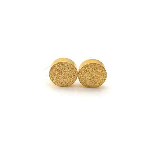 Circle Faux Earrings - Minimalist Circle Disc Invisible Clip On Earrings for Non-Pierced Ears, 8mm Stardust Gold-Tone