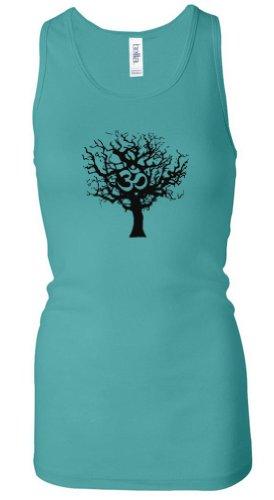 Ladies Yoga Tank Top Black Tree of Life Longer Length Racerback Tank (2XL, Teal)
