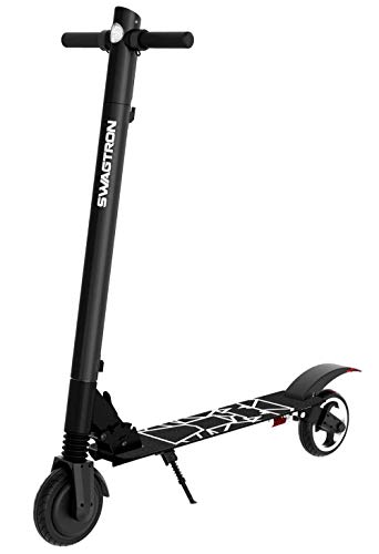 Swagtron Swagger 2 Plus Foldable Electric Scooter for Adults & Teens | Folding E-Scooter w/Built-in USB Port | 230 LB. Max. Weight, Balanced Motor, Triple Braking System (Black)